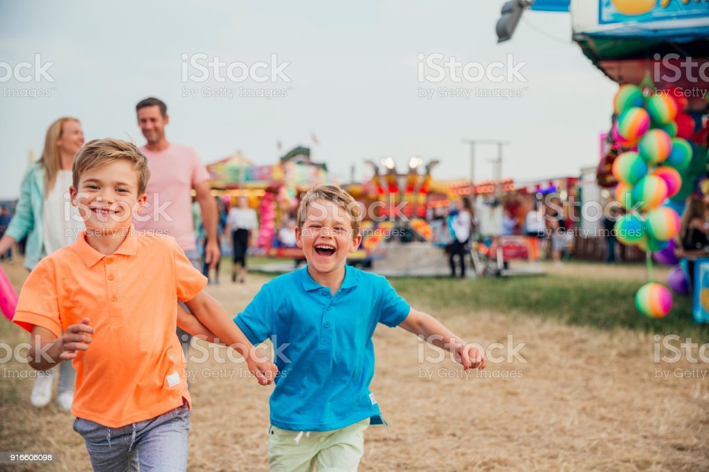 Family Day Out at the Fairground stock photo