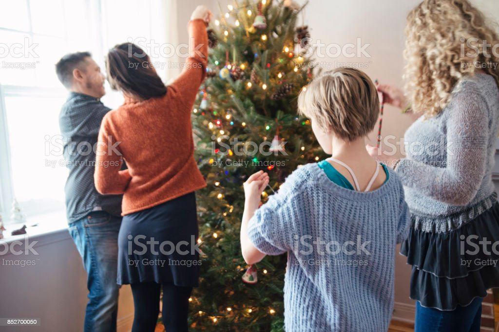 Family decorating Christmas tree. They are in their home living room...