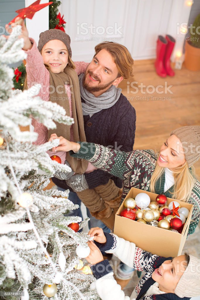 Family with two kids decorating christmas tree outdoors in front of...