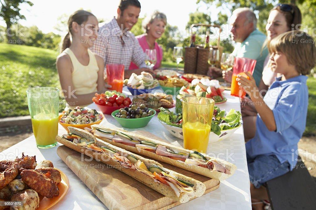 Family Dining Al Fresco stock photo