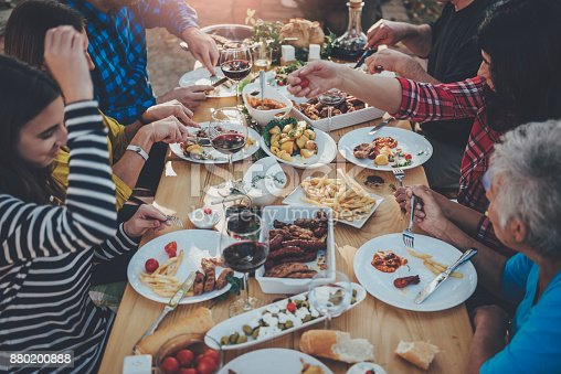 istock Family dining outdoor 880200888