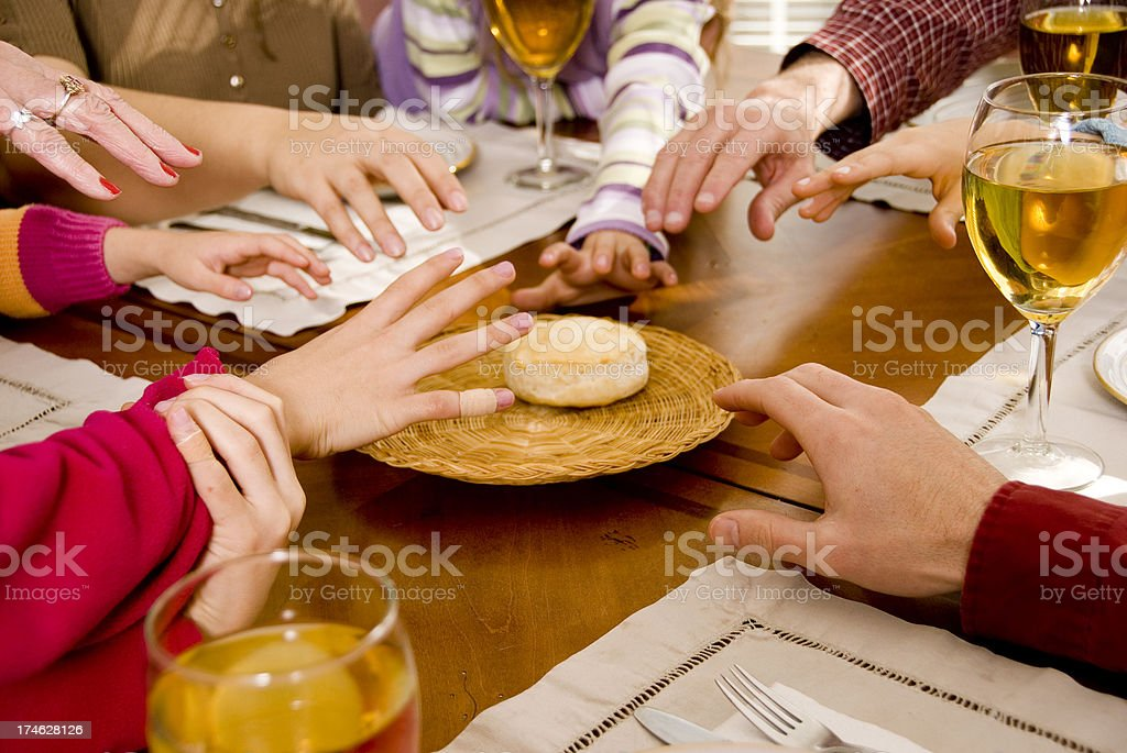 Family Dinner Series- The Last Biscuit stock photo