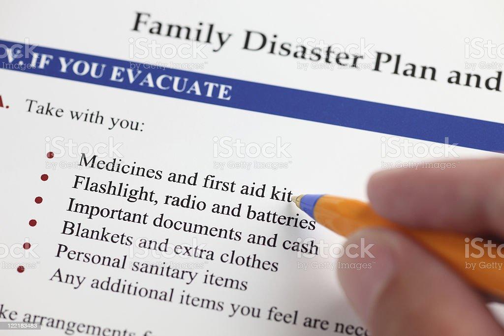 Family Disaster Plan stock photo