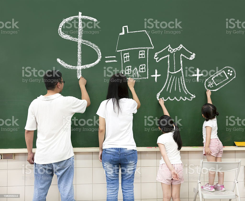 family drawing money house clothes and video game symbol stock photo
