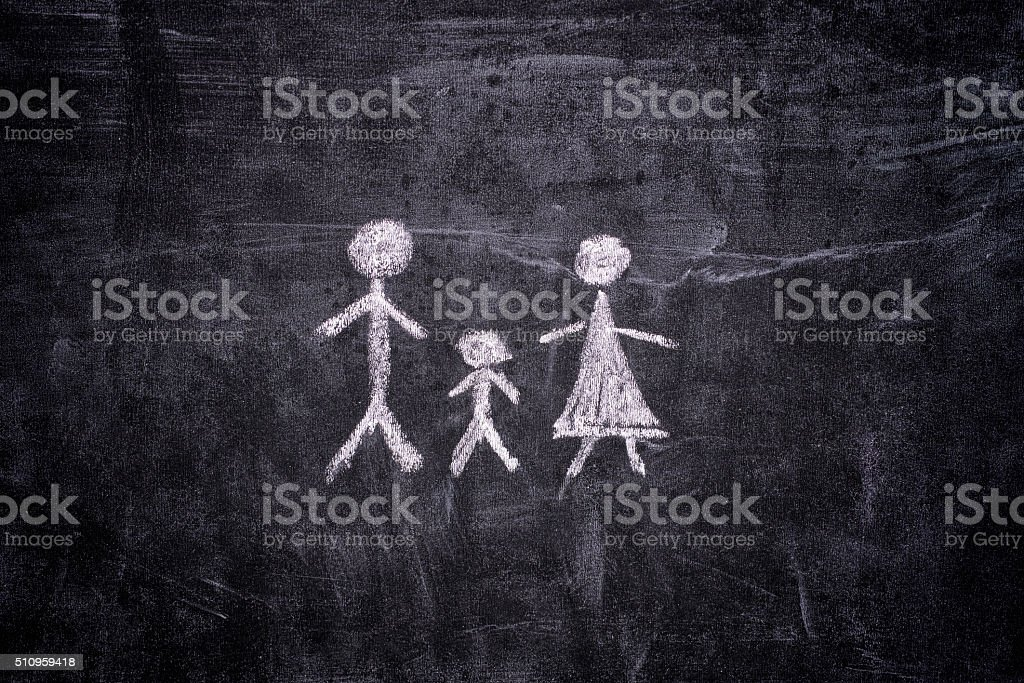 Family drawn on chalkboard. Close up.