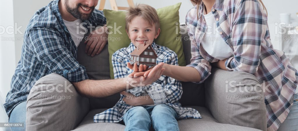 Family dreaming a new house royalty-free stock photo