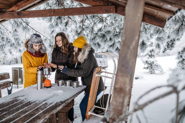 Family drinking tea outdoors at winter time Mother with her two children drinking tea outdoors at winter time. They after the sledding drinking hot drink from travel mug cups. 12 17 months stock pictures, royalty-free photos & images
