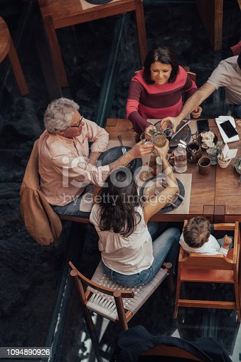 Family eating at a Mexican Restaurant