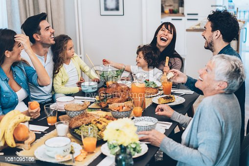 Beautiful big Family enjoys Christmas lunch together