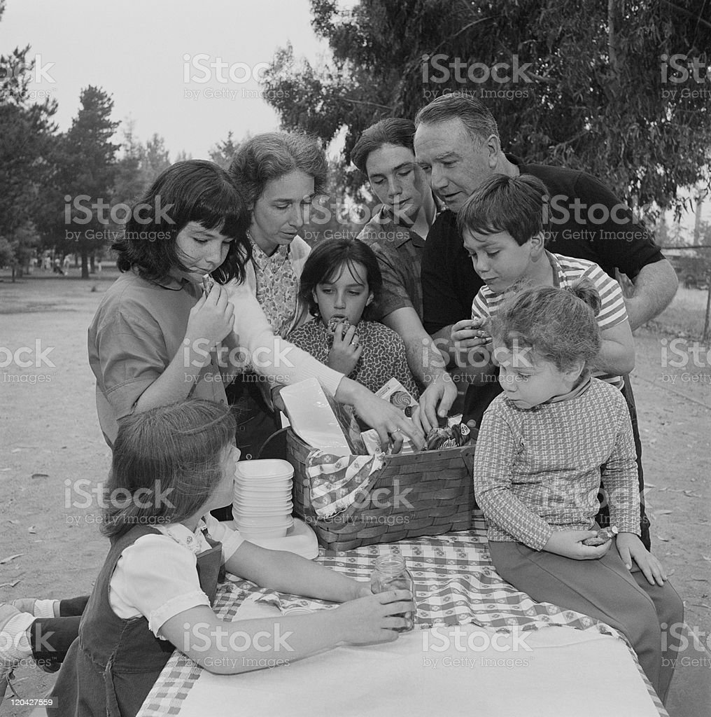 Family eating food together at picnic table in park stock photo