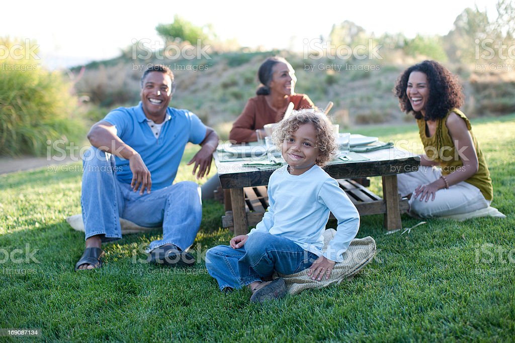 Family eating outdoors royalty-free stock photo