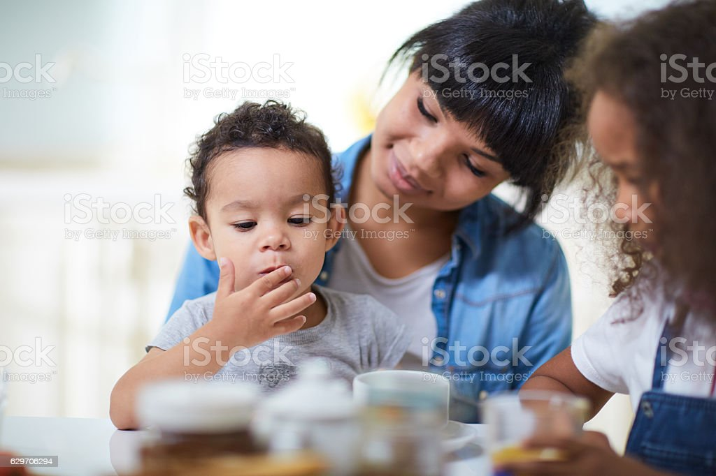 Family eating stock photo