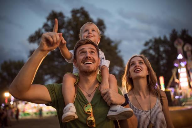 Family enjoy on summer festival stock photo