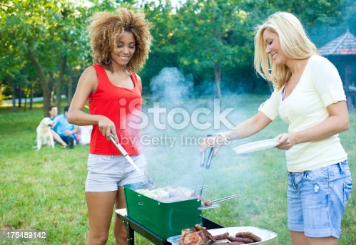 istock Family Enjoying a barbecue picnic. 175489142