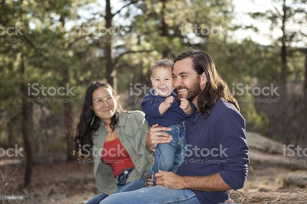 Family enjoying a day in nature stock photo