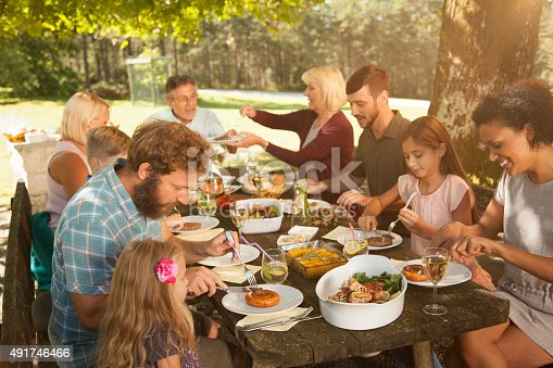 istock Family enjoying barbecue at outdoors 491746466