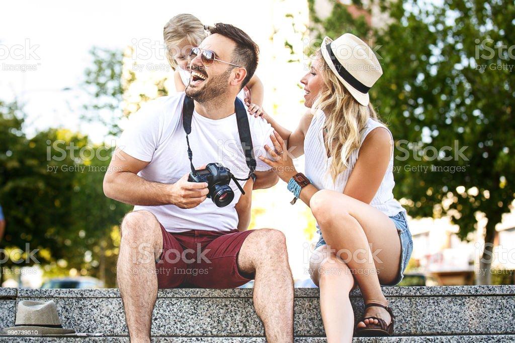 Family enjoying city stock photo