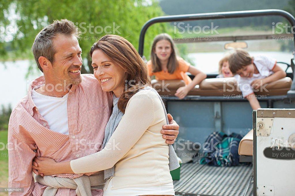 Family enjoying day at lake royalty-free stock photo