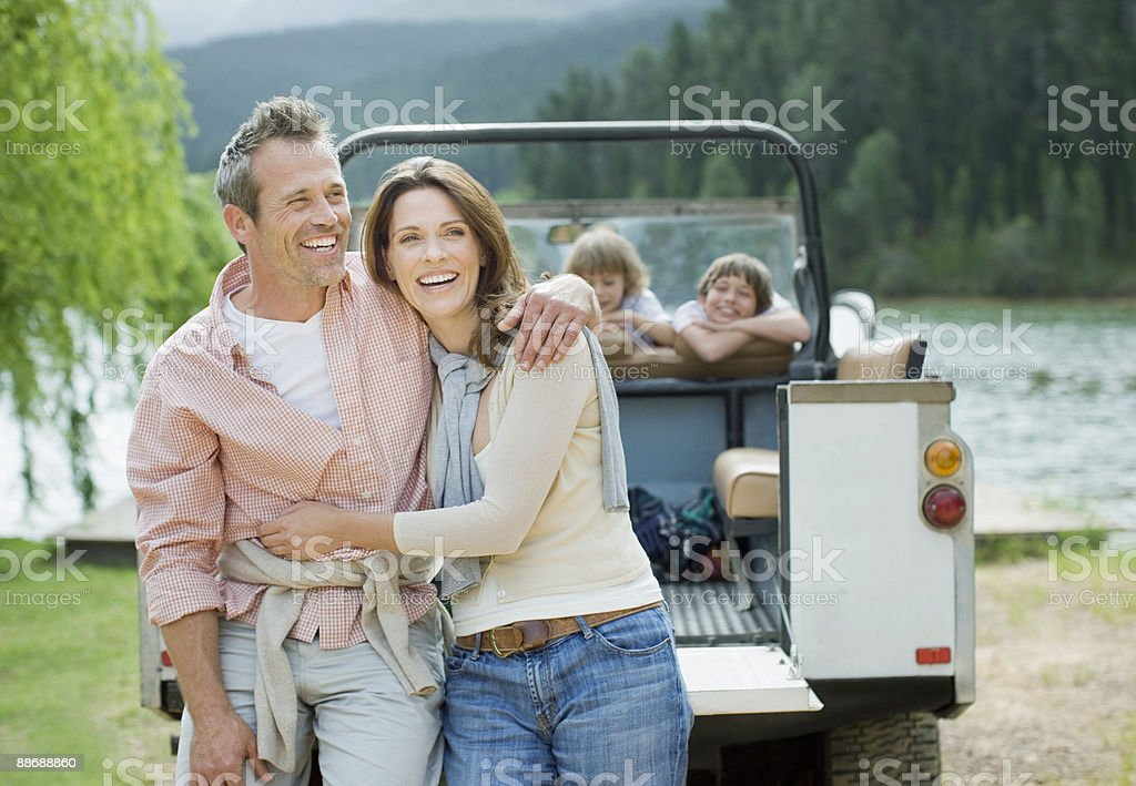 Family enjoying day at lake royalty-free stock photo