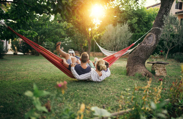 Family enjoying hammock stock photo