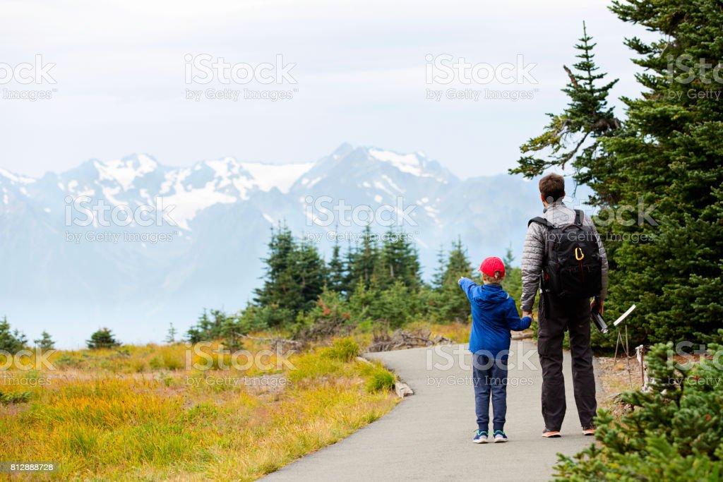 family enjoying olympic national park stock photo