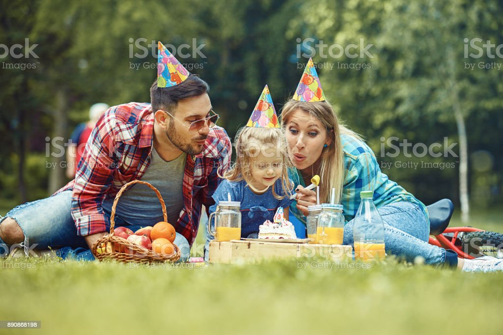 Family enjoying park stock photo
