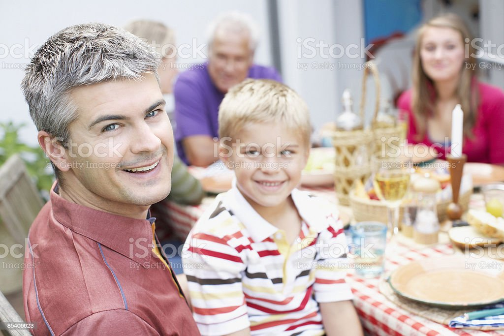 Family enjoying picnic royalty-free stock photo