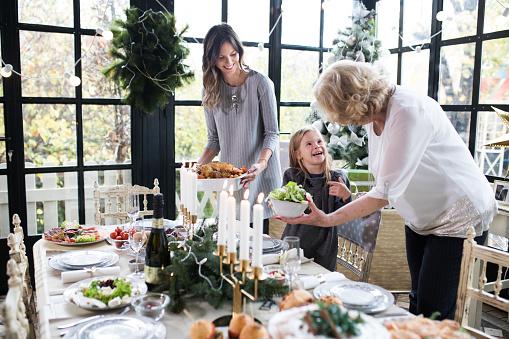 Family enjoying preparing Christmas