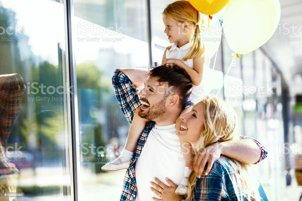 Family enjoying shopping stock photo