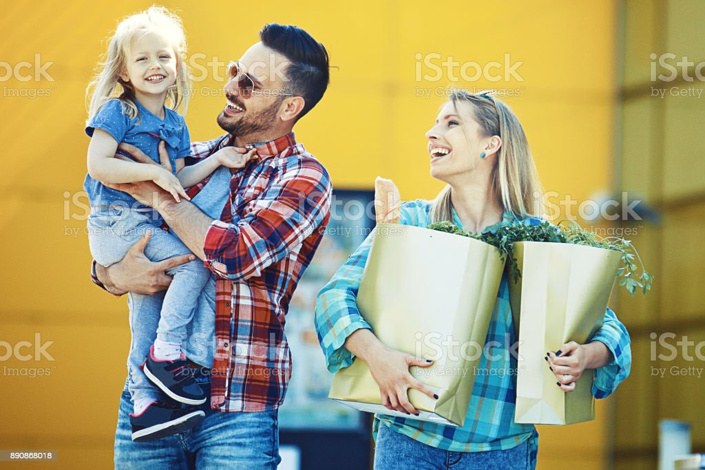Family enjoying shopping stock photo
