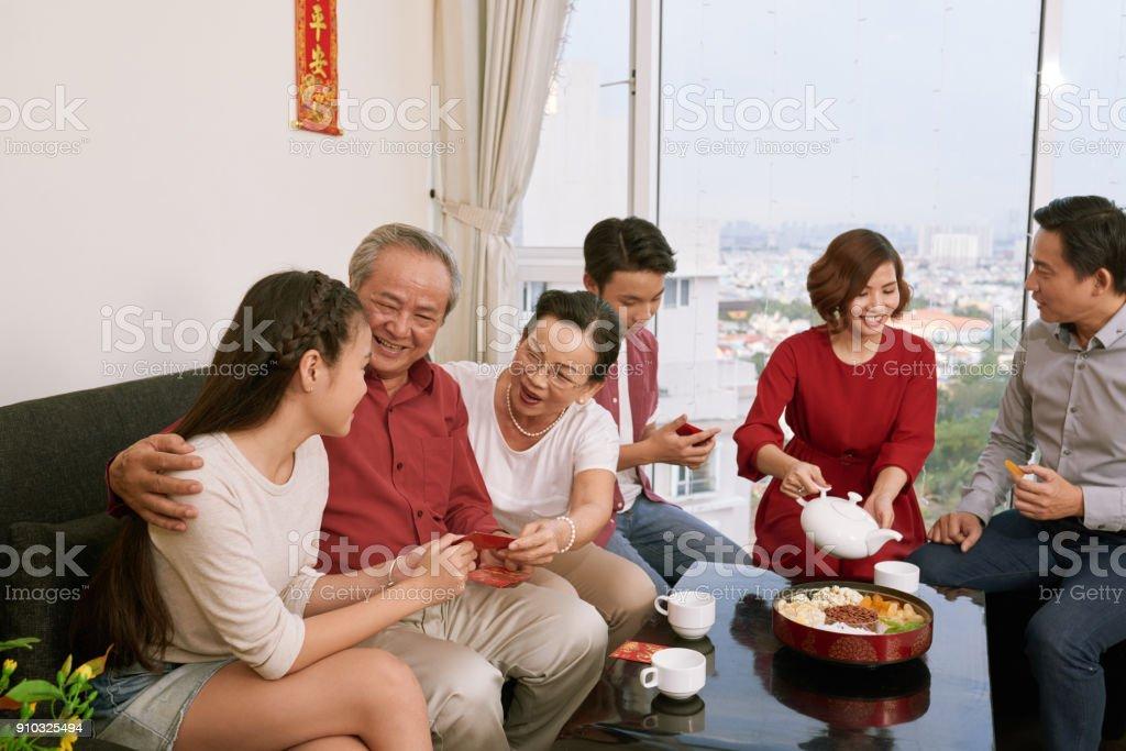 Family enjoying Tet celebration stock photo