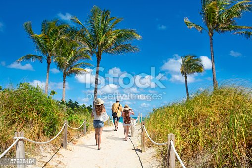 Family walking  to the beach. People enjoying time on the beach on summer vacation. Footpath with palm trees, and ocean in the background. South Beach, Miami, Florida, USA