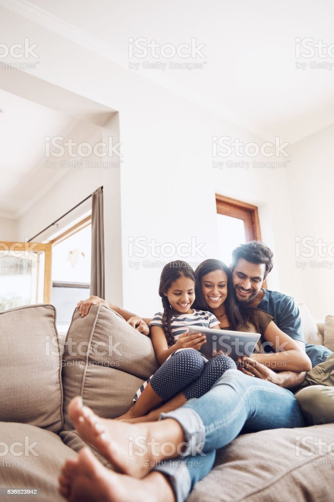 Family entertainment sorted with smart technology stock photo