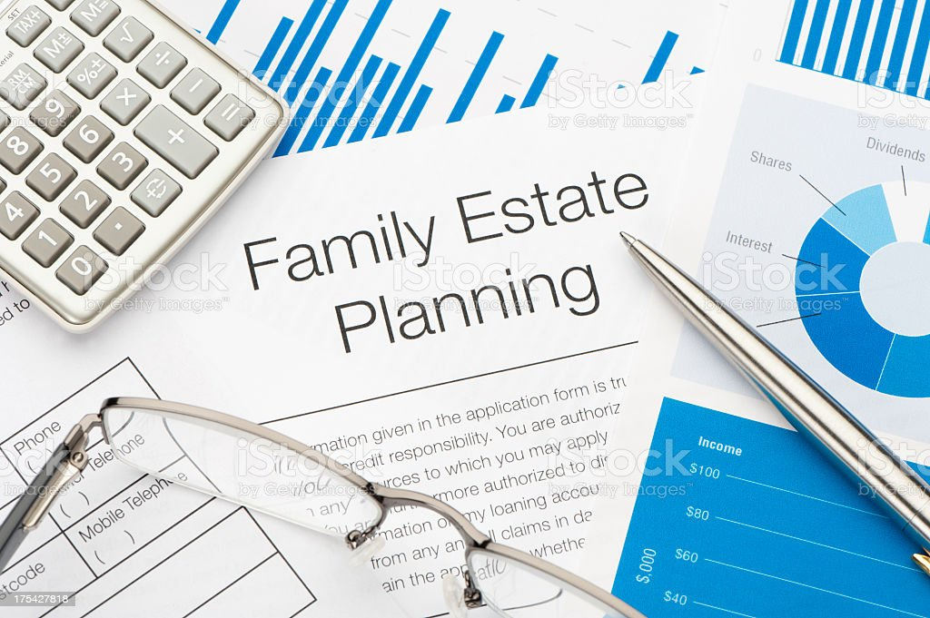 Family Estate planning document stock photo