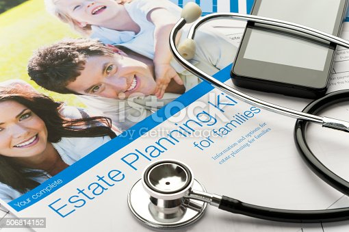584597964 istock photo Family Estate planning document with stethoscope 506814152