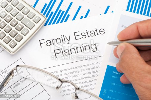 584597964 istock photo Family Estate planning document with writing hand 175427861