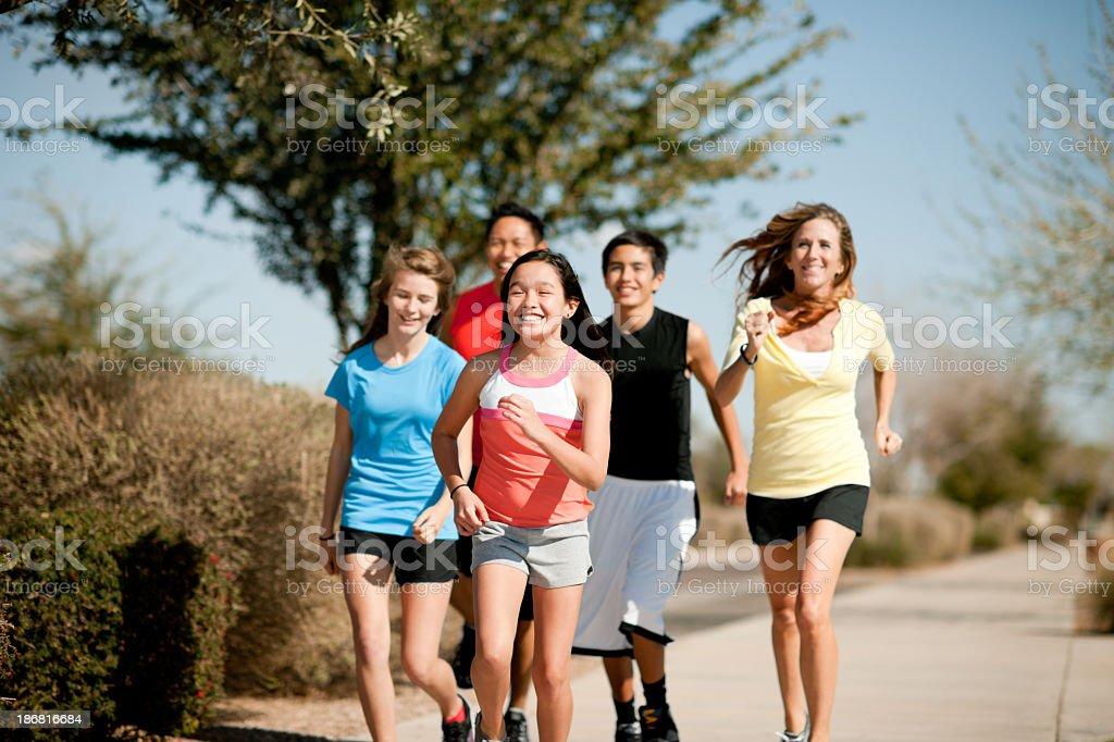 Family exercise stock photo
