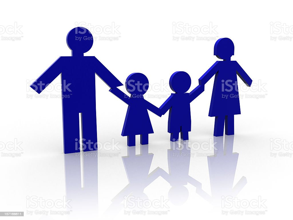 Family: father, mother and kids royalty-free stock photo