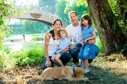 istock Family father mother kids and dog outdoor 136568068