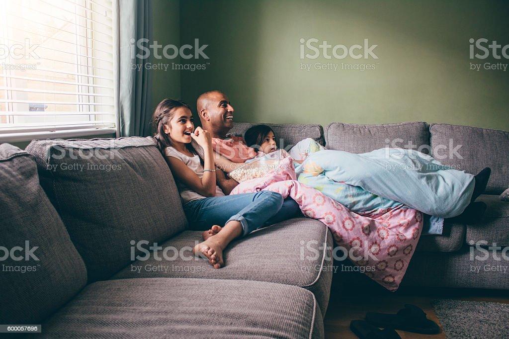 Family Film Time stock photo