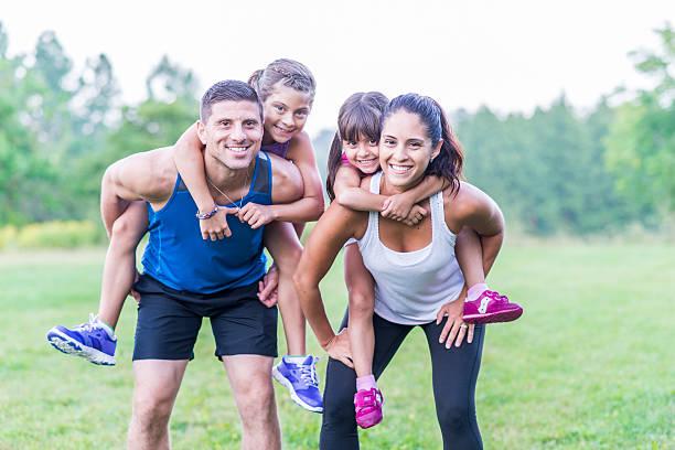 Family fitness stock photo