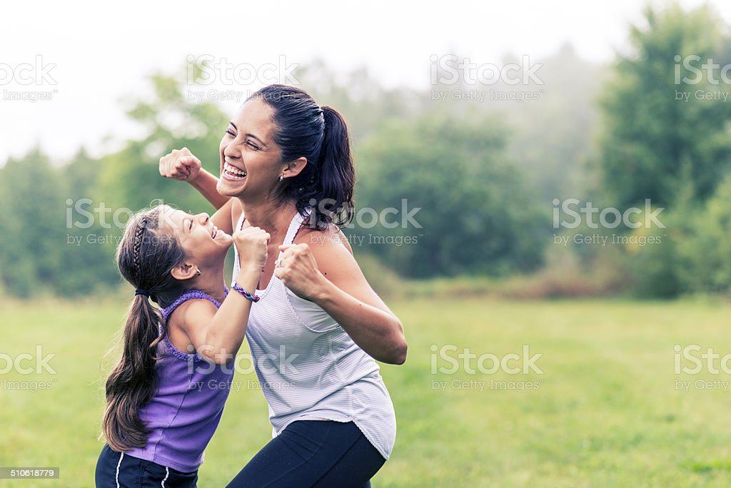 Family fitness stock photo