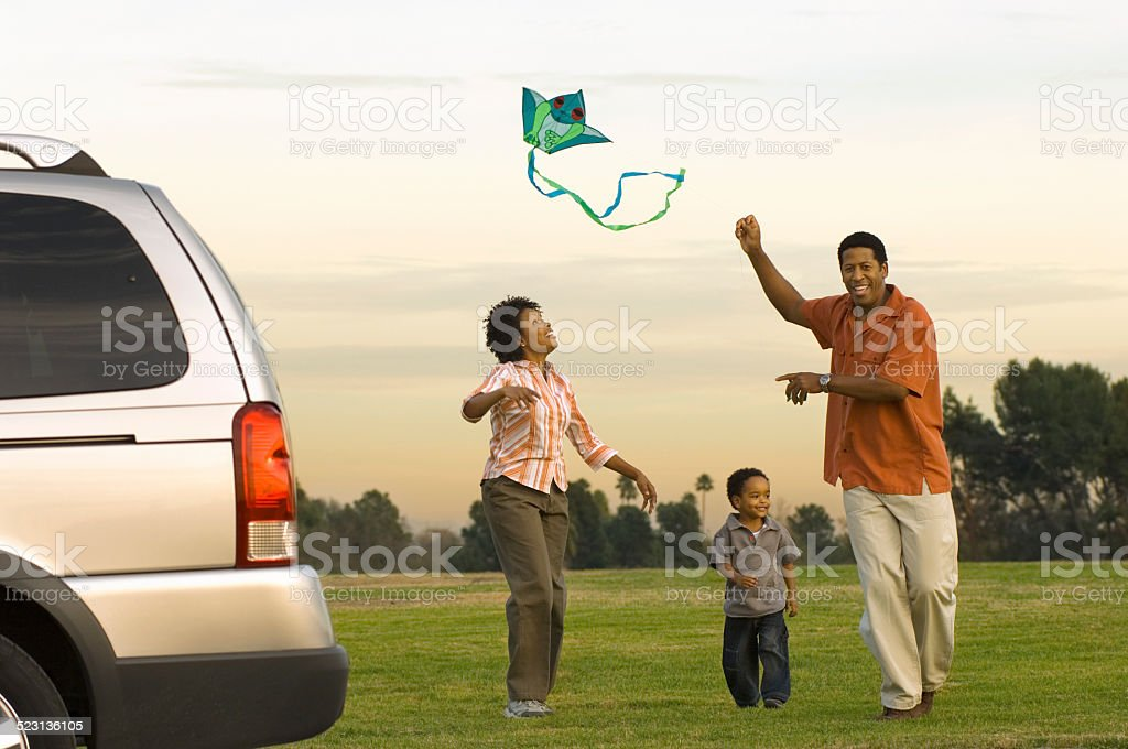 Family Flying a Kite stock photo