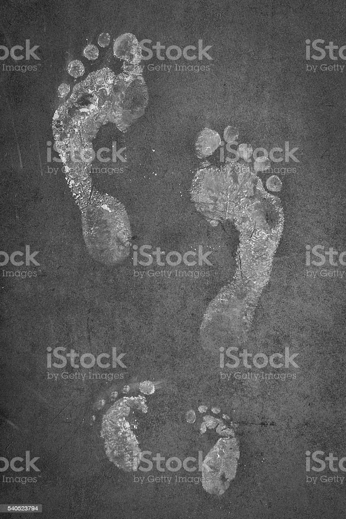 family foot prints stock photo