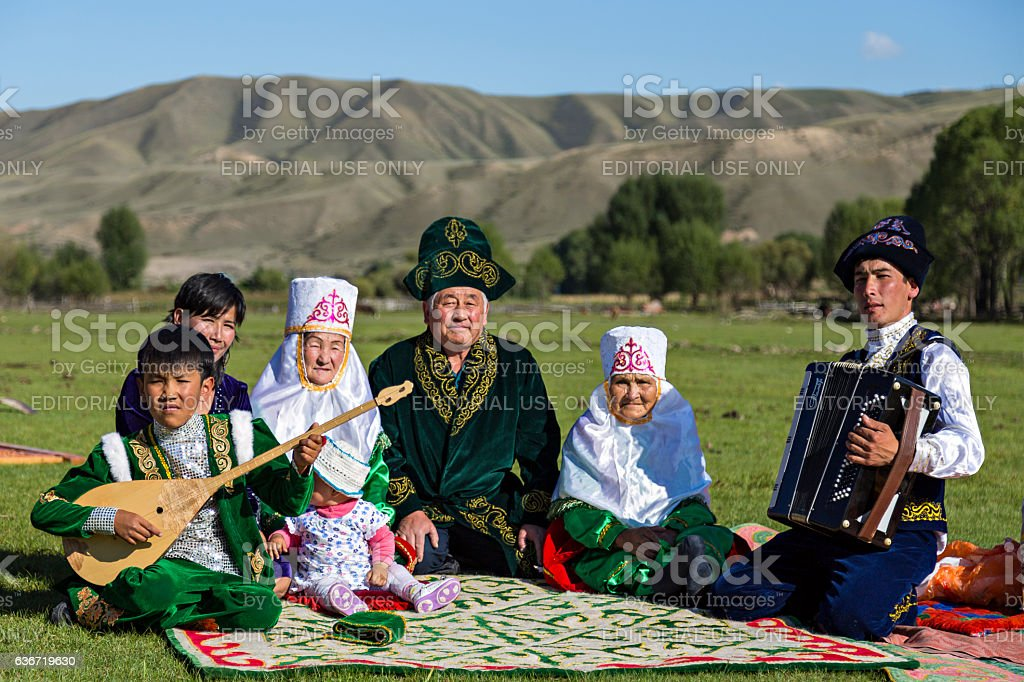 Family from Kazakhstan stock photo