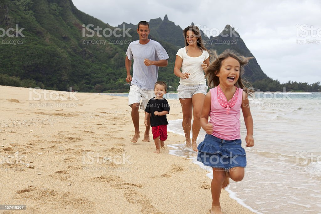 Family Fun at the Beach stock photo