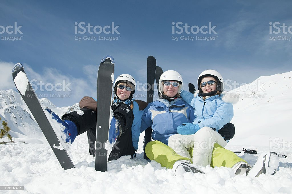Family fun in snow royalty-free stock photo