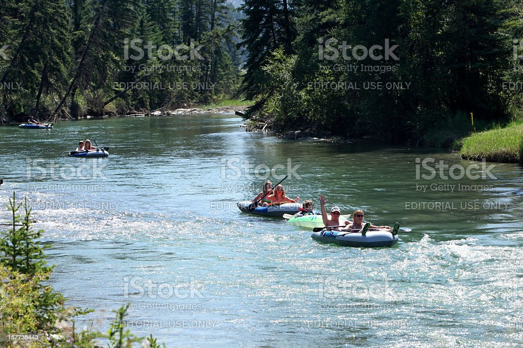 Family Fun Rafting Down The Columbia River royalty-free stock photo