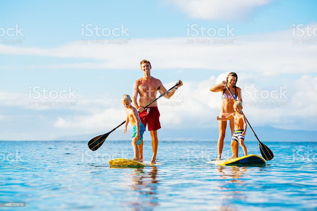 Family Fun, Stand Up Paddling stock photo