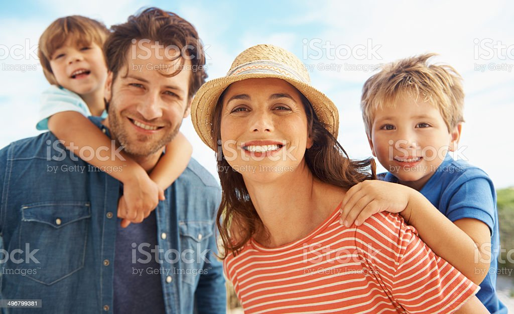 Family fun time in the sun stock photo